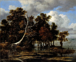 Jakob van Isaacs Ruisdael. Oaks by the lake with water lilies