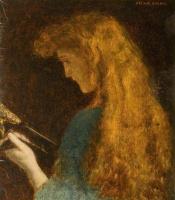 Arthur Hughes. Portrait of a girl. Sketch