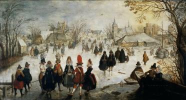 Adam van Breen. Winter landscape with skaters