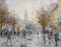 Alexander Victorovich Shevelyov. Rain on the Cross. Oil on canvas 27.5 x 36 cm. 2018