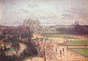 Камиль Писсарро. Парижский сад Тюильри в дождливую погоду