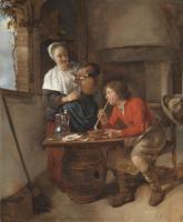 Габриель Метсю. Юноша с трубкой и женщина, наливающая пиво