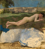 Frédéric Bazille. Naked young man lying on the grass