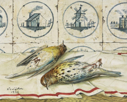 Цугухару Фудзита ( Леонар Фужита ). Still life with dead birds