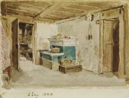 Альберт Анкер. Комната с зеленой печью