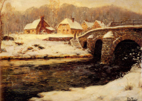 Frits Thaulow. Stone bridge over a stream in water