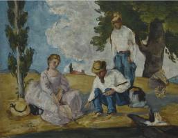Paul Cezanne. Picnic on a Riverbank