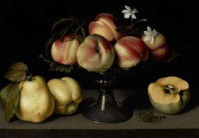 Феде Галиция. Стеклянная ваза с персиками, цветами жасмина, айвой и кузнечиком
