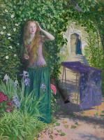 Arthur Hughes. Girl near flowers