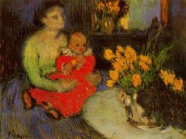 Пабло Пикассо. Мать с ребенком любуются букетом