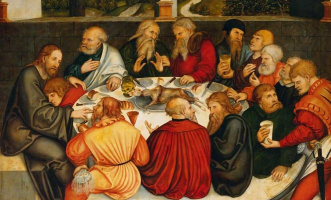 Лукас Кранах Старший. Тайная вечеря. Фрагмент центральной части триптиха