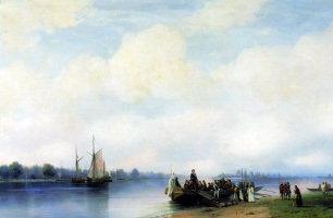 Ivan Aivazovsky. The arrival of Peter I on the Neva