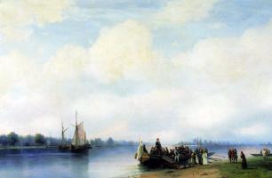 Ivan Aivazovsky. The arrival of Peter I on the Neva