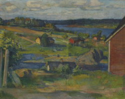 Houses by the river. 1915