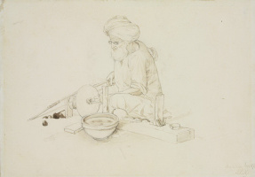 John Lockwood Kipling. Man in turban working with marble