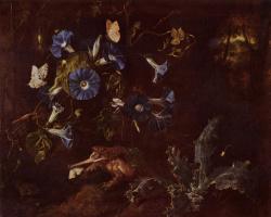 Отто Марсеус ван Скрик. Голубые вьюнки, жаба и насекомые