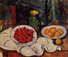 Paul Cezanne. Still life with cherries and peaches