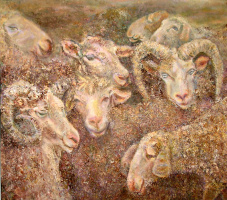 A herd of sheep and goats