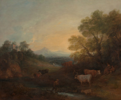 Thomas Gainsborough. Landscape with a stream and a herd of