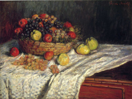 Claude Monet. Fruit basket with apples and grapes