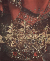Хуберт ван Эйк. Гентский алтарь. Бог–Отец на троне. Деталь: корона и одеяние