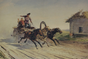 """Petr Petrovich Sokolov. """"On three"""" 1866"""