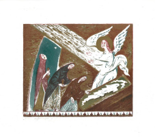 The myrrh-bearing women at the Holy sepulchre