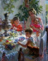 Полина Борисовна Лучанова. Автопортрет с детьми (первый вариант)  2009