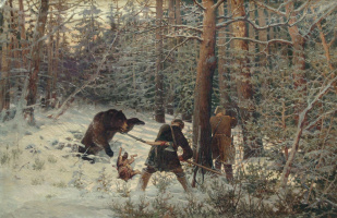 Евгений Александрович Тихменев. Охота на медведя. 1890-е
