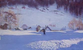 Giovanni Giacometti. Winter landscape, stump