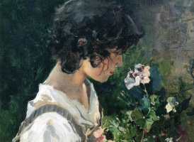 Joaquin Sorolla (Soroya). Girl with flowers