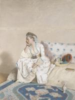 Jean-Etienne Lyotard. Portrait of Marie Fargues, the artist's wife, in Turkish costume
