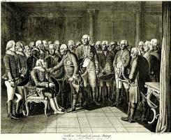 Даниэль  Николай Ходовецкий. Генерал фон Зитен, сидящий в присутствии короля Фридриха II