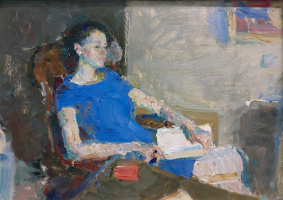 Samir Rakhmanov. Portrait of Varya in a blue dress