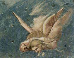Джотто ди Бондоне. Оплакивание, деталь: Скорбящий ангел
