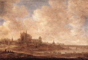 Ян ван Гойен. Вид реки и Лейденерской церкви на горе
