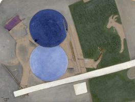 Марк Захарович Шагал. Композиция с двумя шарами и козлом для Еврейского театра