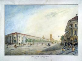 Karl Petrovich Beggrov. View of Nevsky Prospekt at Gostiny Dvor
