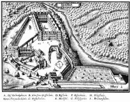 Маттеус Мериан Старший. Вольфег, расположение замка и сада