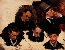 """Ilya Efimovich Repin. A male head. Sketches for the painting """"Parisian cafe"""""""