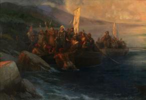 Иван Константинович Айвазовский. Высадка Христофора Колумба с товарищами на трех шлюпках в пятницу 12 октября 1492 на рассвете на американском острове, названом Сан-Сальвадор им в тот же день