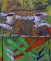 Zakir AHMED Ahmedov. Cafe 2013year21x17inOriginal Painting Oil on Canvas