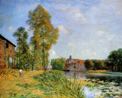 Alfred Sisley. The Loing at Moret in summer