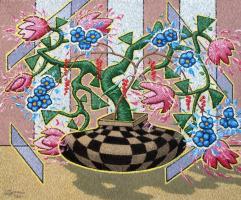 Yuri Vladimirovich Sizonenko. Still life with a vase in a checkerboard klitkou