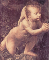 Леонардо да Винчи. Мадонна в гроте, сцена: Мария с младенцем Христом, младенецем Иоанном Крестителем и ангелом, деталь: младенец Христос