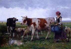 Жюльен Дюпре. Крестьянка с коровами и овцами