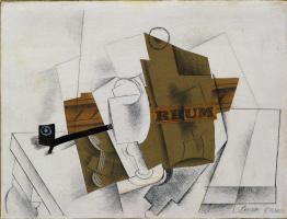 Пабло Пикассо. Трубка, бокал и бутылка рома
