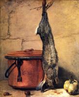Жан Батист Симеон Шарден. Натюрморт с кроликом, айвой и медным котлом