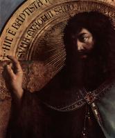 Хуберт ван Эйк. Гентский алтарь, алтарь мистического агнца, центральная часть, сцена: Иоанн Креститель на троне, деталь