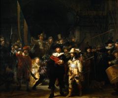 Рембрандт Харменс ван Рейн. Ночной дозор, или Выступление стрелковой роты капитана Франса Баннинга Кока и лейтенанта Виллема ван Рёйтенбюрга